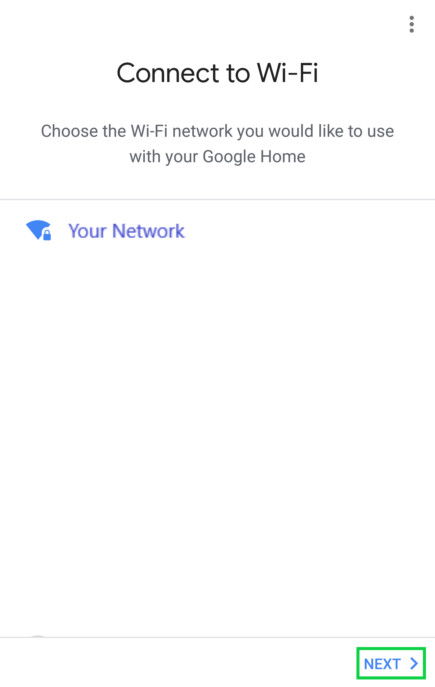 Connect to Wi-Fi page with Next highlighted
