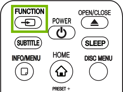Function button highlighted on remote.