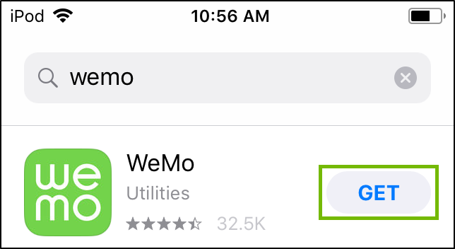 App store search with WeMo search, Get button highlighted.