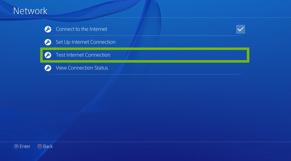 Test Internet Connection option highlighted in PlayStation 4 settings.