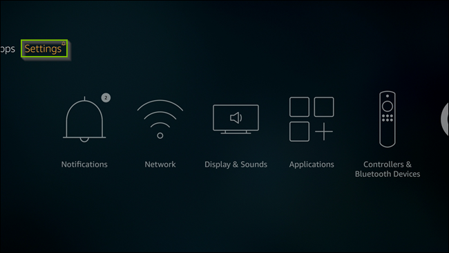 Fire TV screen with Settings menu selected. Screenshot.