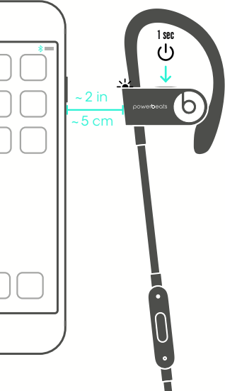 Diagram of holding headset close to phone and pushing power button