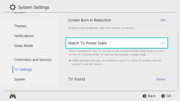 Switch tv settings screen showing power state set to off
