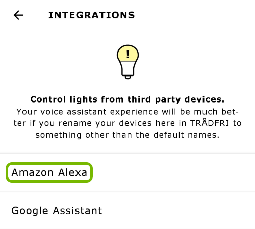 Amazon Alexa option highlighted in app settings.