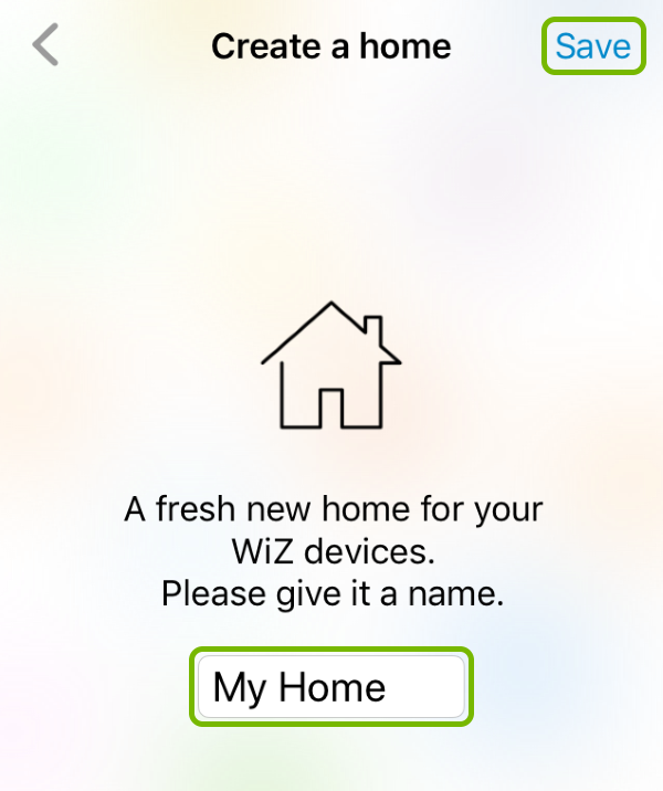 Home name entry field and Save option highlighted on the first screen after login in the WiZ app.