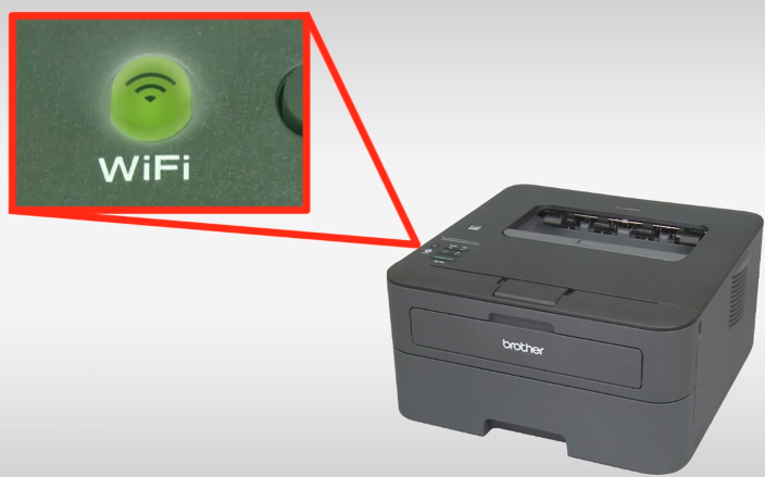 Highlighting the printer's Wi-Fi light being lit once the wireless connection has been established. Illustration.