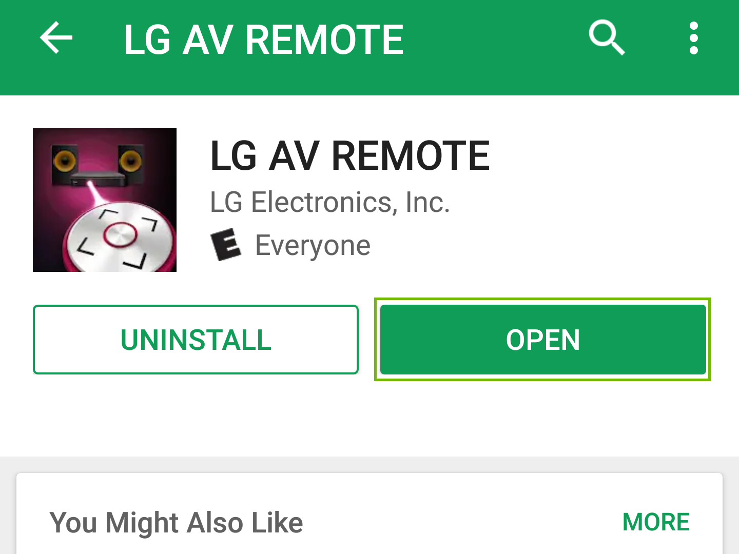 LG AV Remote stor page with open highlighted