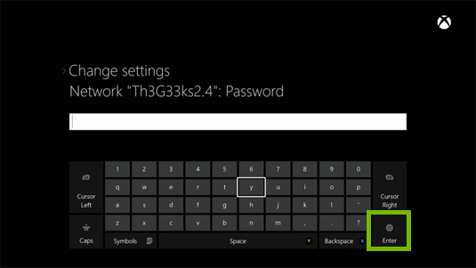 Xbox one wi-fi password field.