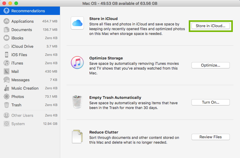 Storage options with store in icloud button highlighted