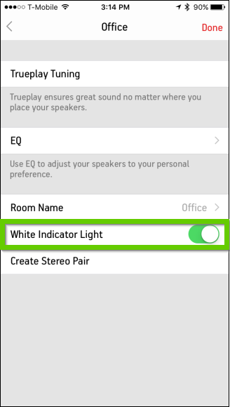 Sonos turning off indicator light