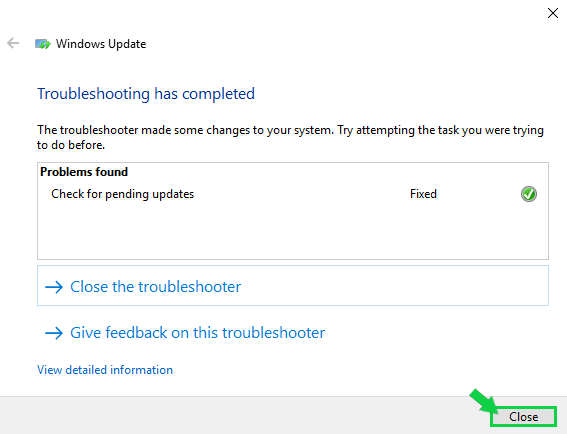 example screen showing results of troubleshooter