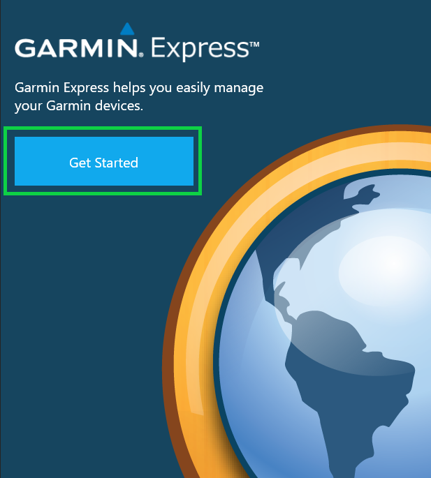 Garmin Express app with Get Started highlighted