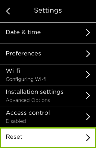 Reset option highlighted in Settings menu.