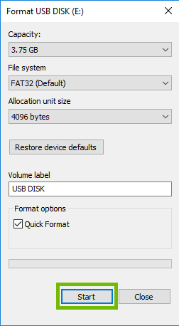 Format dialog with Start button highlighted.