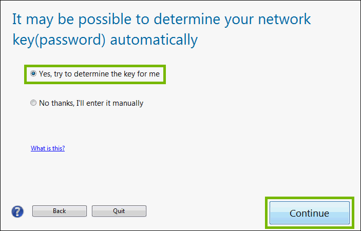 it may be possible to determine your network key automatically with yes highlighted and continue highlighted