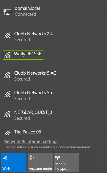 List of Wi-Fi networks with Wally network highlighted