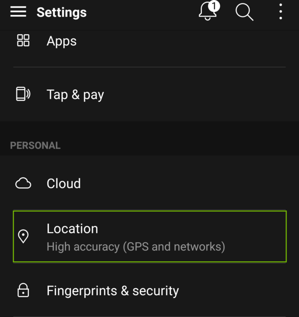 Settings with Location highlighted.