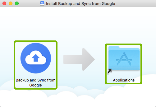 Backup and sync installer with both icons highlighted.