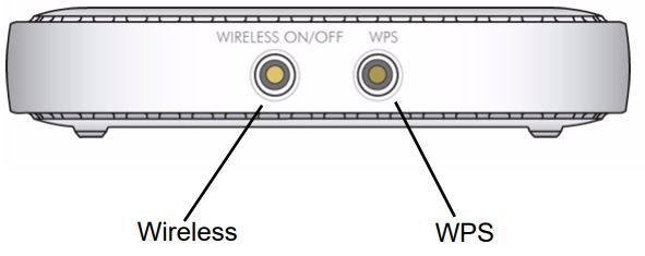 Wireless and WPS buttons on Netgear router.