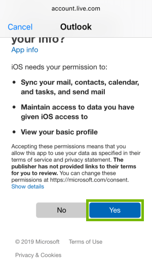 Outlook permissions request