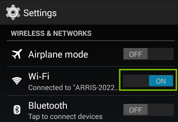 Settings menu with W-FI on. Screenshot