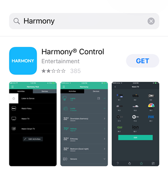 App store displaying the Harmony app within search results.