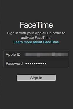 Mac Facetime log in