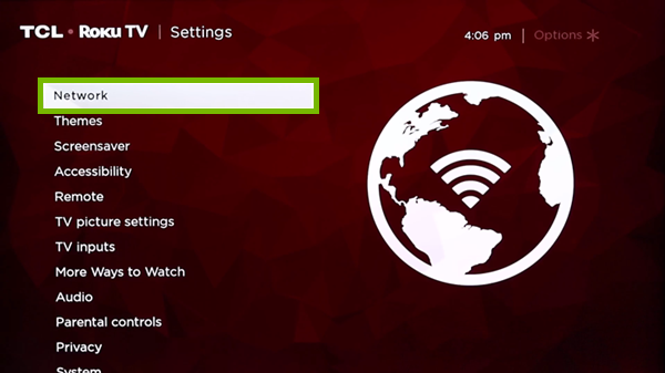 Network option highlighted in Settings menu.