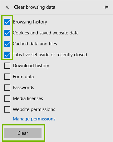 Edge clearing menu with Clear highlighted. Screenshot