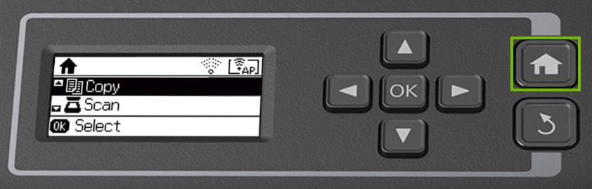 Printer control panel highlighting the home button.