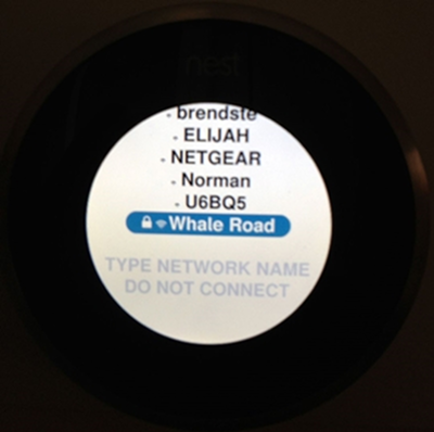 Nest thermostat highlighting a particular Wi-Fi network.