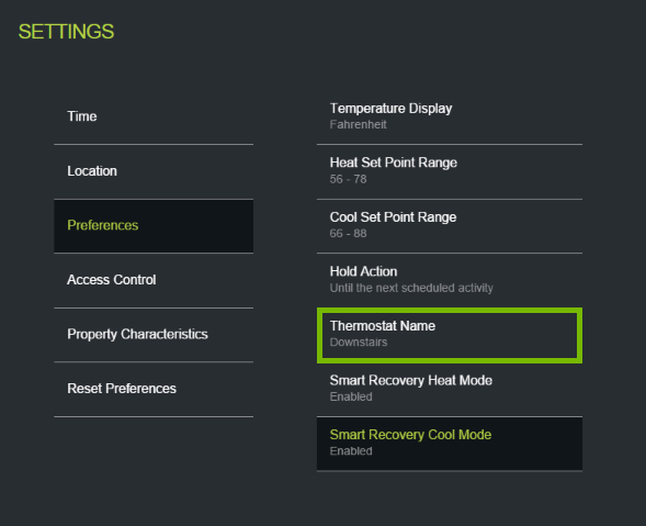 Thermostat Name option highlighted in ecobee web portal settings.