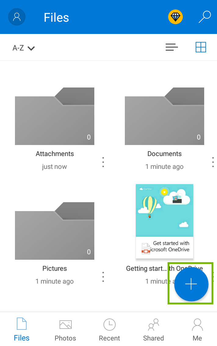 Microsoft onedrive app page showing blue circle with a plus sign being highlighted