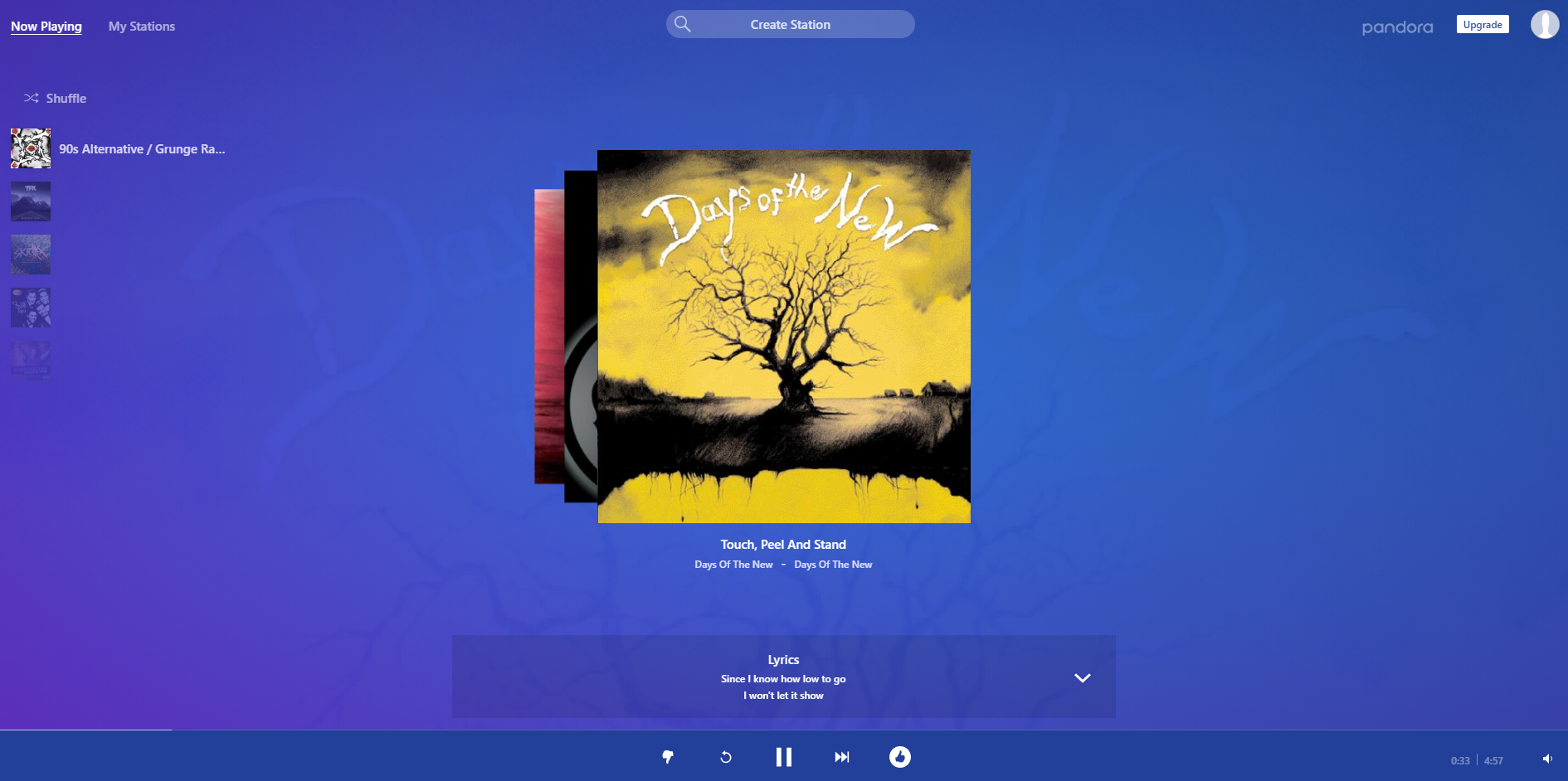 Pandora on a web browser.