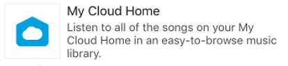 The my cloud app selection in the sonos app