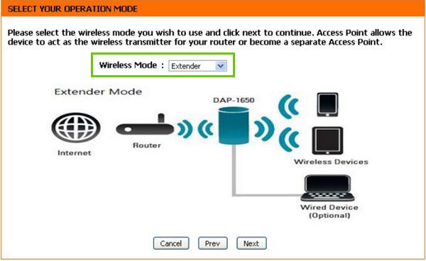 Extender mode selected