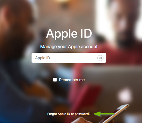 Apple ID page. Screenshot