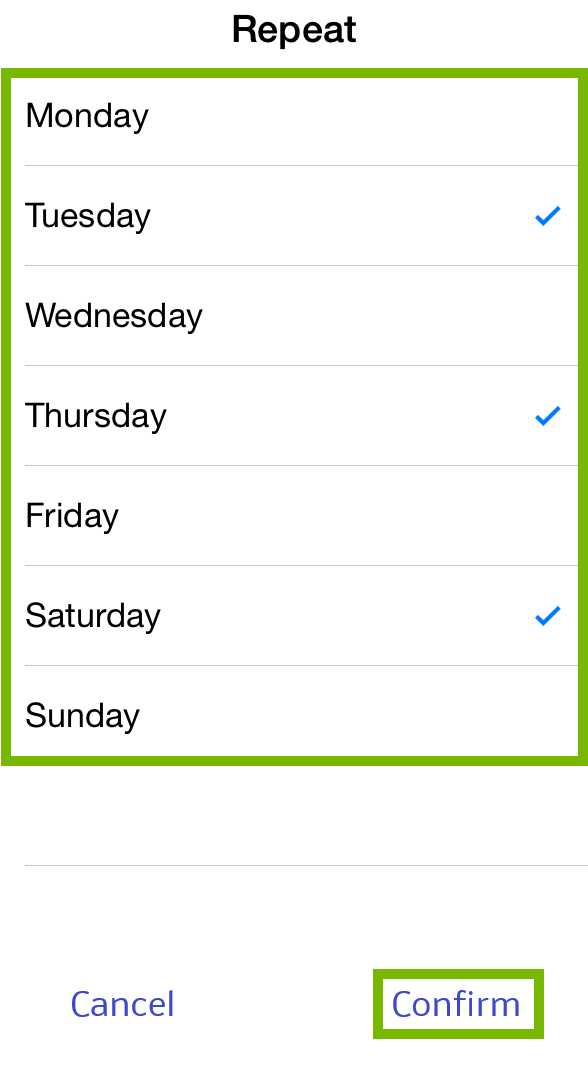 Timer Days and Confirm highlighted