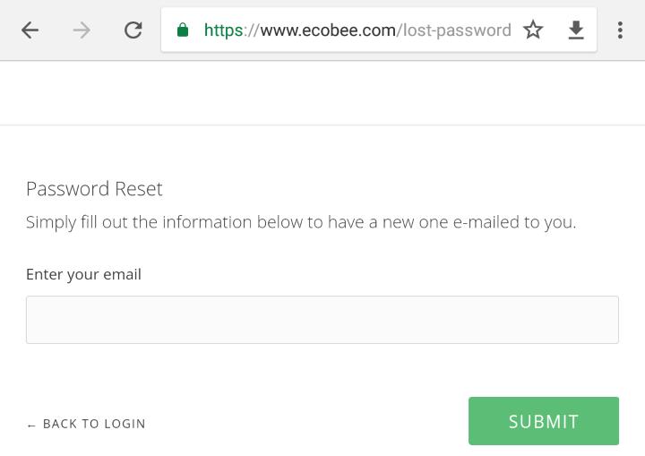 Account password reset page