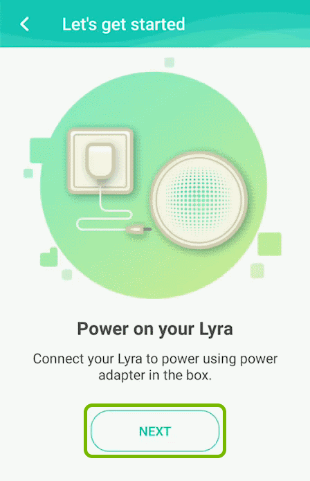 Next option highlighted on the getting started screen of the ASUS Lyra app.