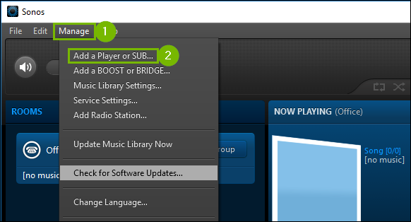 Sonos app manage menu extended highlighting the add a player or sub option.