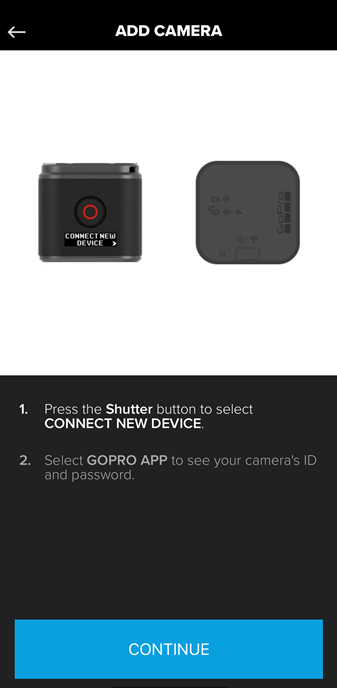 Screenshot of the GoPro app displaying instructions on how to connect your camera with the GoPro app.