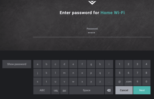 Wifi password field and the next button