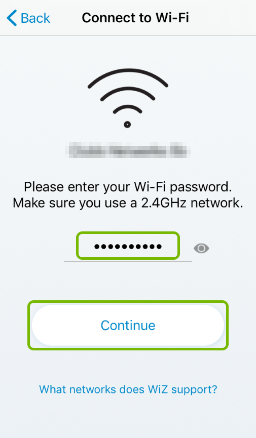 Wi-Fi password entry field and Continue button highlighted in WiZ app.