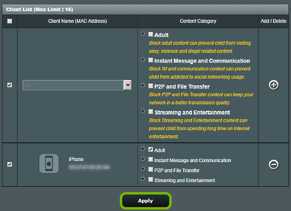 Apply button highlighted on Parental Controls screen of ASUS router web interface.