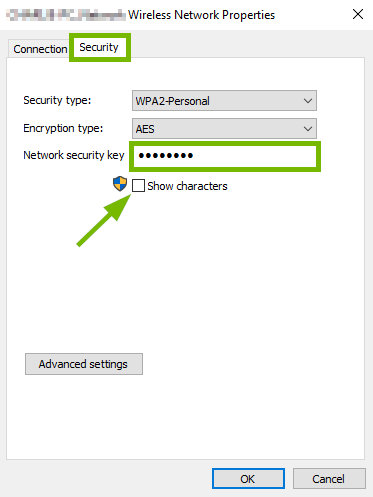 Security tab, Network security key field highlighted and Show characters box pointed out on Wireless Properties pop-up.