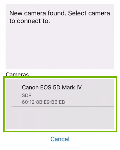 New camera found with example camera highlighted