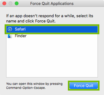 Force Quit dialog with Safari and Force Quit button highlighted.