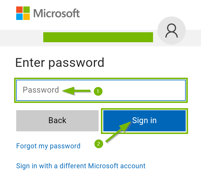 Microsoft onedrive password field