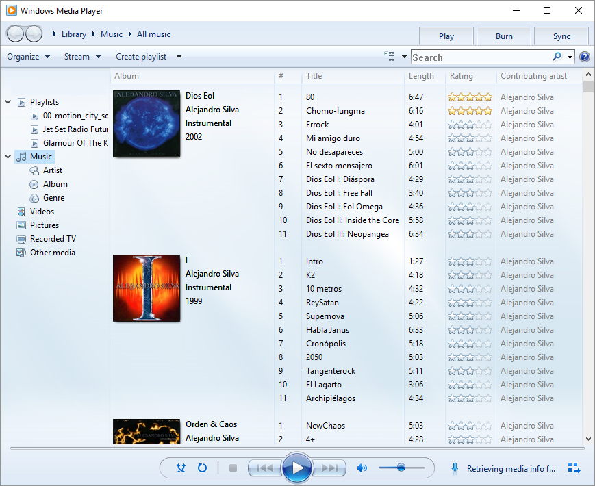 Windows media player interface.